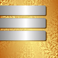 Silver banners golden background with three Stock Image
