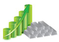 Silver bars graph prices Stock Photo