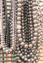Silver beaded necklaces a variety of Royalty Free Stock Images