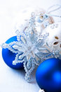 Silver and blue christmas decoration Stock Photos