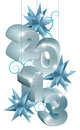 Silver and blue christmas ornaments decorations or tree baubles reading Stock Photography
