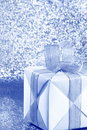 Silver Blue Gift Box - Stock Photo Royalty Free Stock Photo