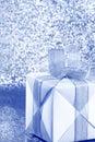 Silver Blue Gift Box - Stock Photo Royalty Free Stock Photo