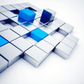 Silver and blue metallic cubes Royalty Free Stock Images