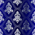 Silver-on-Blue seamless Indian pattern with dots Stock Photos