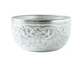 Silver bowl isolated on white Royalty Free Stock Photo