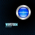Silver button with sound wave sign Royalty Free Stock Photo