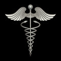Silver caduceus rendering of a metal rod Royalty Free Stock Photo