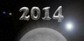 Silver card happy new year universe theme with planet or moon Stock Image