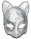 Silver cat carnival venetian mask Royalty Free Stock Image