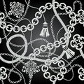 Silver chain seamless vector background illustration Royalty Free Stock Image