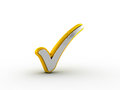 Silver check mark with golden outline Royalty Free Stock Photo