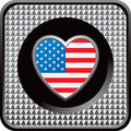 Silver checkered web button with american heart Stock Images