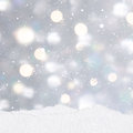 Silver Christmas background with mounds of snow Royalty Free Stock Photo