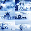 Silver christmas collage of cards Stock Photography