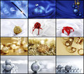 Silver christmas collage of cards with decoration and gifts Royalty Free Stock Images