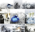 Silver christmas collage of cards with decoration and gifts Royalty Free Stock Photography