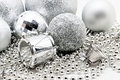Silver Christmas decoration, balls, beads, bell close up isolate Royalty Free Stock Photo