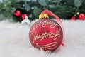 christmas bauble Red silver decoration with fake snow made of white fur Royalty Free Stock Photo
