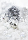 Silver christmas decorations ball snow ribbon Royalty Free Stock Image