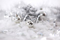 Silver christmas decorations balls snow ribbon soft focus Stock Photos