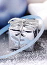 Silver Christmas gift Stock Images