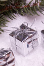 Silver christmas gift boxes Royalty Free Stock Photos