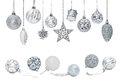 Silver Christmas New Year baubles for Christmas tree ornaments Royalty Free Stock Photo