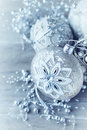 Silver christmas ornaments old fashion handcrafted close up Stock Photos
