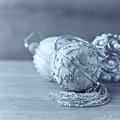 Silver christmas ornaments on wooden background elegant Royalty Free Stock Image