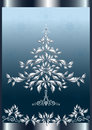 Silver Christmas tree in frame. Stock Photos
