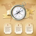 Silver compass infographic Royalty Free Stock Photo