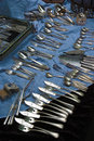 Silver cutlery antique on the isemarkt hamburg Royalty Free Stock Images