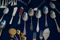 Silver cutlery antique on the isemarkt hamburg Royalty Free Stock Photos