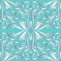 Silver 3d floral seamless pattern. Vector turquoise damask backg Royalty Free Stock Photo