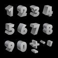 Silver 3d numbers isolated font on black Royalty Free Stock Photo