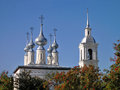 Silver domes and bell tower of smolenskaya church in suzdal beautiful picture shining cupolas the our lady smolensk its surround Royalty Free Stock Photo