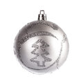 Silver dull christmas ball on white background Royalty Free Stock Image