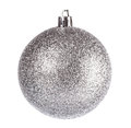 Silver dull christmas ball on white background Royalty Free Stock Photos