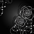 Silver flowers with shadow on dark background. Royalty Free Stock Photo