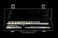 Silver flute in case isolated