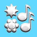 Silver foil musical note star flower balloon isolated aluminum music notes and shape balloons waiting for your message for any Royalty Free Stock Photos