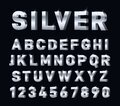 Silver font. 3d steel chrome alphabet. Metal letters and numbers, metallic platinum typography decorations. Modern Royalty Free Stock Photo