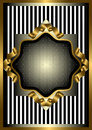 Silver frame with gold decor on striped background vintage the of the ribbon a black and white Stock Photography