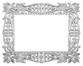 Silver frame isolated decorative over white background Royalty Free Stock Images