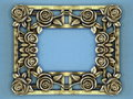 Silver frame metallic with roses on blue background Royalty Free Stock Image