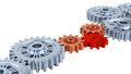 Silver gears one red white background Stock Photo