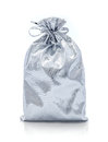 Silver gift bag present on the white background Stock Photo