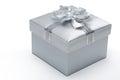 Silver gift box Royalty Free Stock Photo