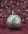 Silver Glitter Bauble. Royalty Free Stock Photos
